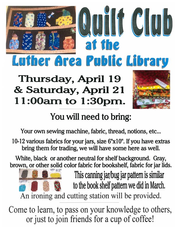April Quilt Club Flyer