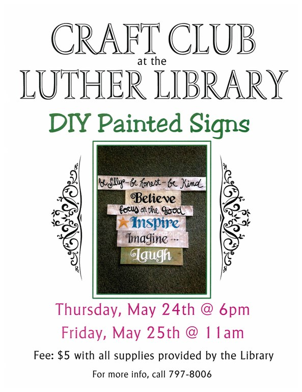 May 2018 Craft Club Painted signs